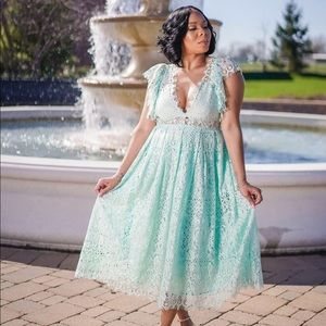 Lace Prom Midi Dress with Frill Sleeves